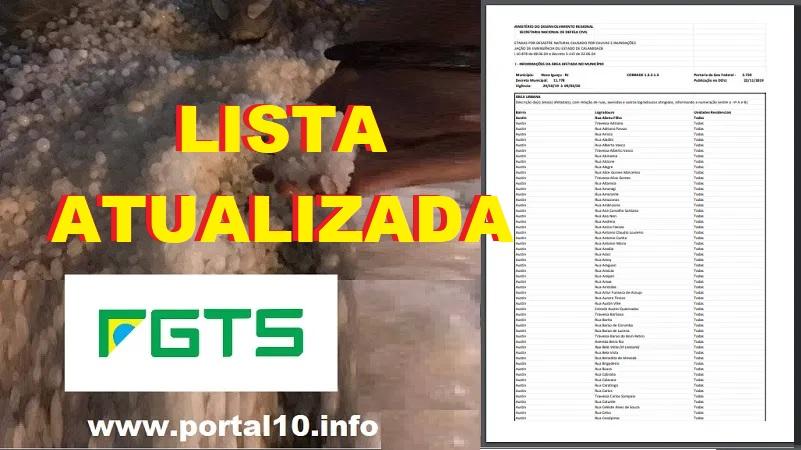 Lista ATUALIZADA das ruas liberadas para o saque do FGTS em Nova Iguaçu