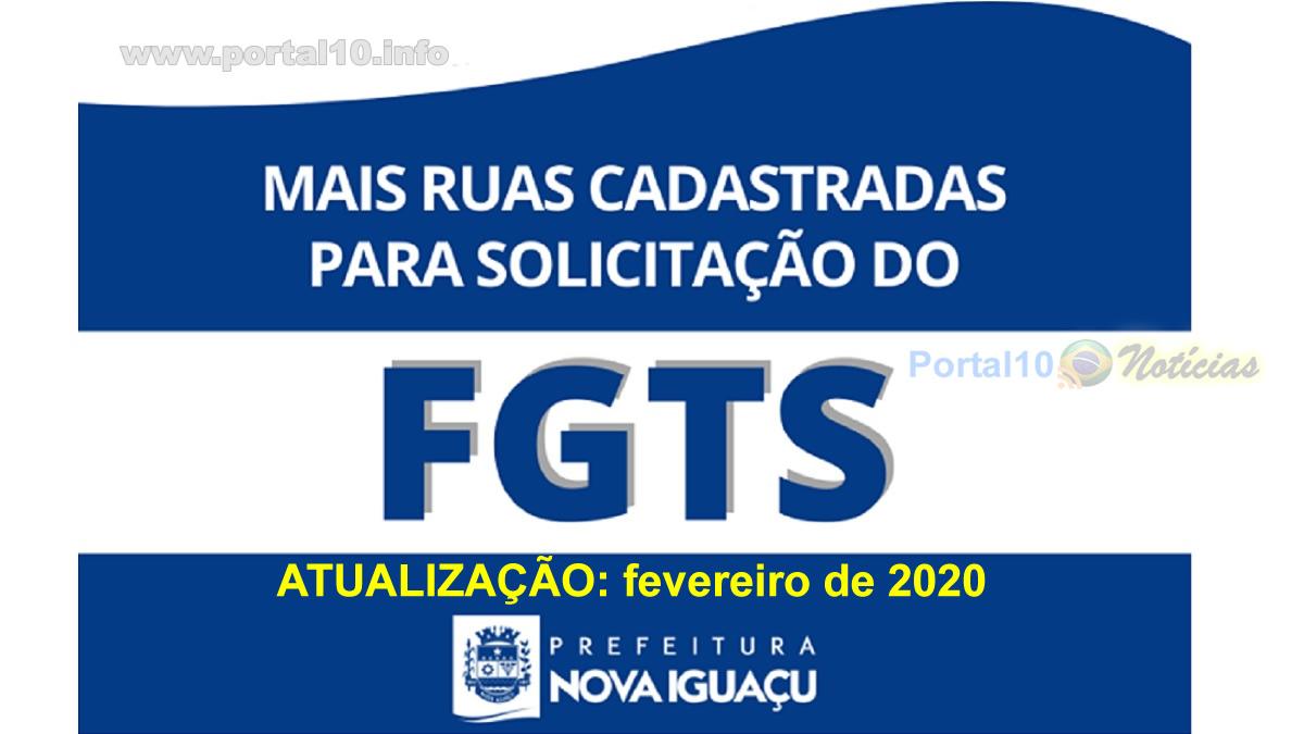 3ª lista atualizada de ruas para a liberação do FGTS em Nova Iguaçu