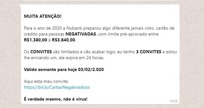 Golpe do site falso com cartão de créditos para negativados NuBank pelo Whatsapp