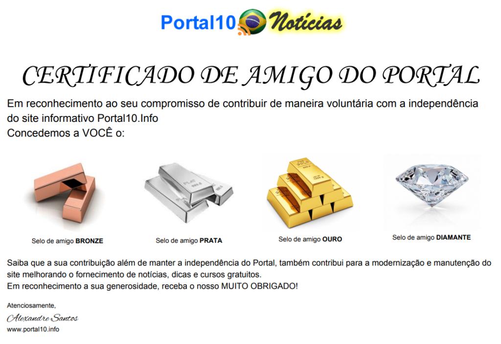 CERTIFICADO AMIGO DO PORTAL Apoie o Portal