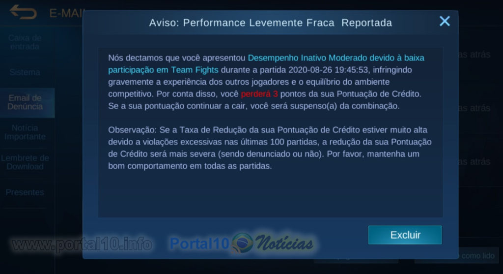 Aviso de participação levemente fraca no Mobile Legends Bang Bang