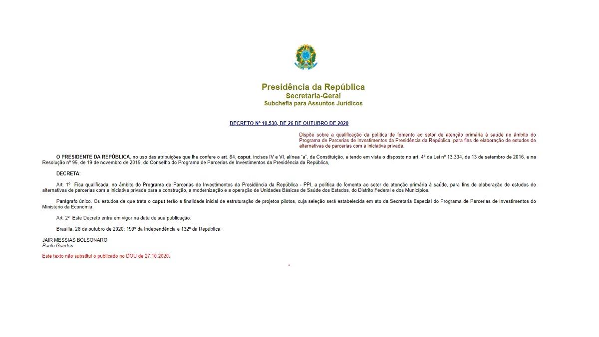 decreto 10350 sus A falsa privatização do SUS por Jair Bolsonaro
