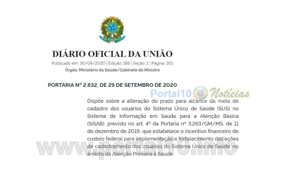 Min. da Saúde Prorroga novamente o prazo para cadastro dos usuários do SUS