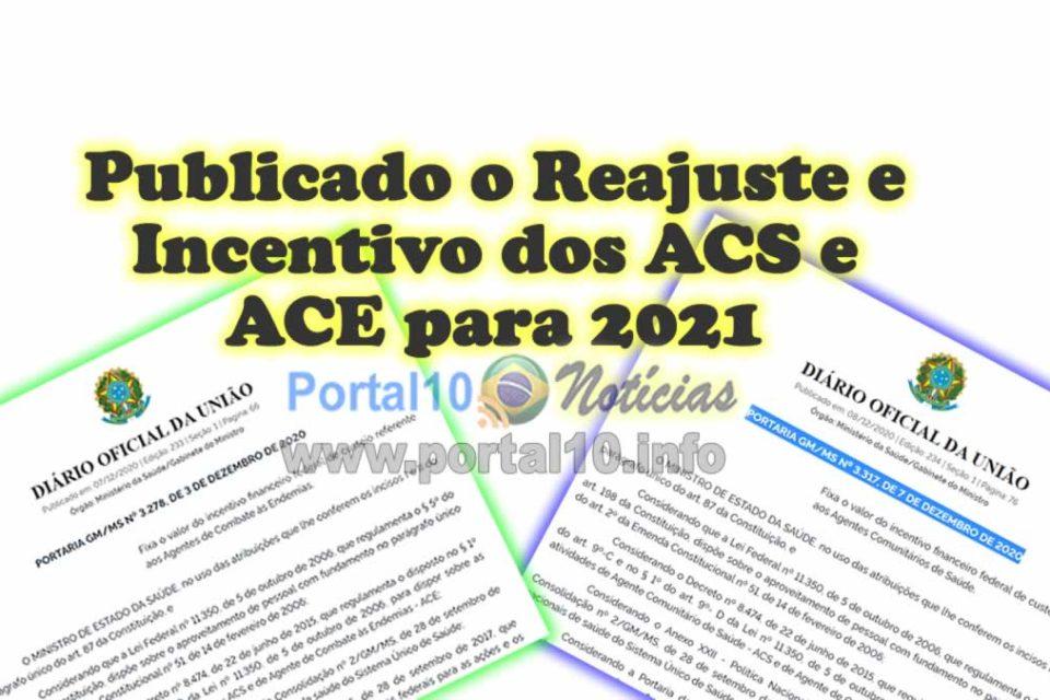 reajuste acs ace 2021 Reajuste e Incentivo dos ACS e ACE são Publicados no Diário Oficial